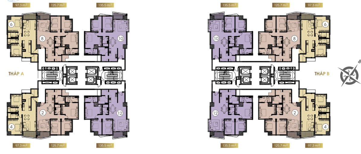 Mặt bằng căn hộ tầng 17 - 35 (click xem ảnh lớn)