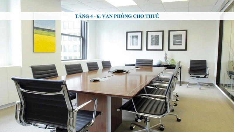 Văn phòng cho thuê tại tầng 4 - 6 của dự án