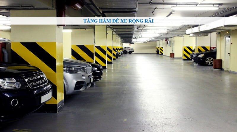 2 tầng hầm để xe rộng rãi