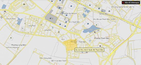 Vị trí chung cư CT2A Thạch Bàn