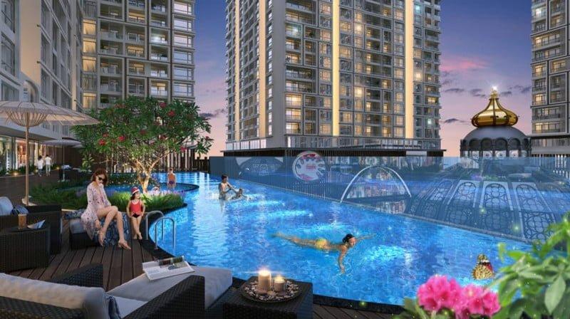 Bể bơi ngoài trời hiện đại tại dự án