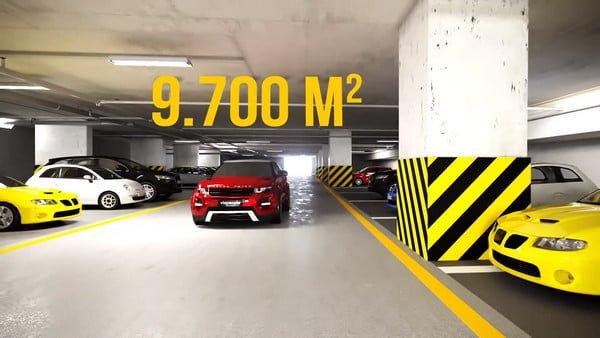 Hầm đỗ xe rộng rãi và thông thoáng