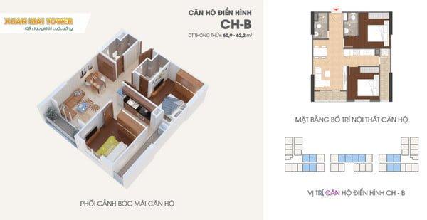 Phối cảnh bóc mái căn hộ 60m2