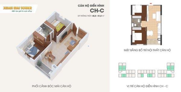 Phối cảnh bóc mái căn hộ 48-51m2