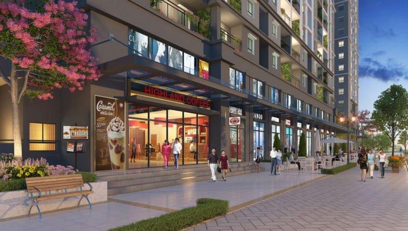 Trung tâm thương mại và mua sắm tại khối chân đế của toà nhà