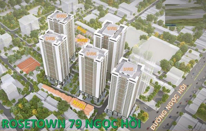 Vị trí các toà chung cư trong dự án Rose Town