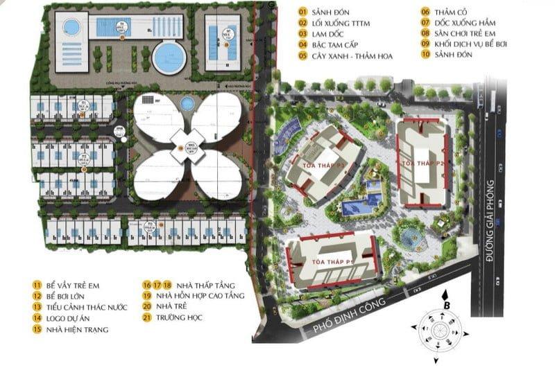 Sơ đồ tiện ích tại SkyView Plaza 360 Giải Phóng