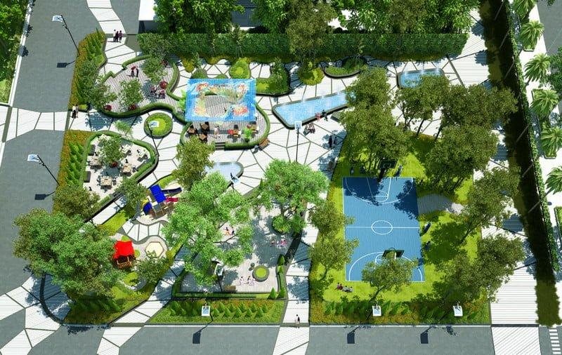 Công viên trung tâm rộng rãi và thoáng mát