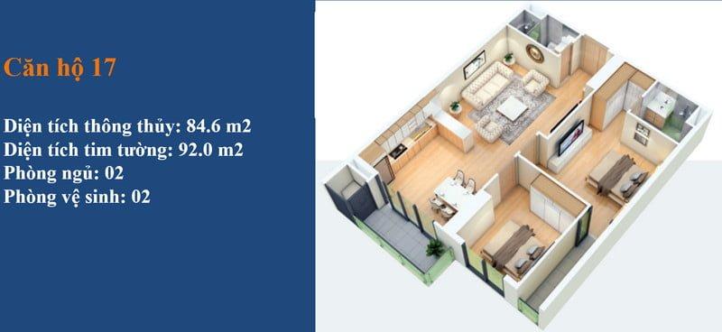 Thiết kế căn hộ 2PN điển hình