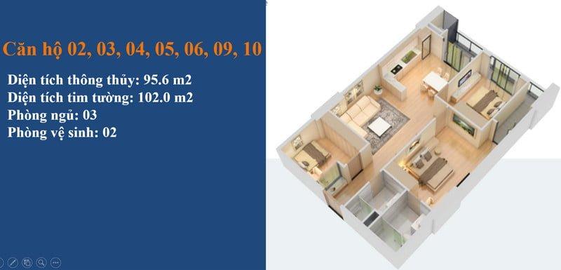 Thiết kế căn hộ 3PN điển hình