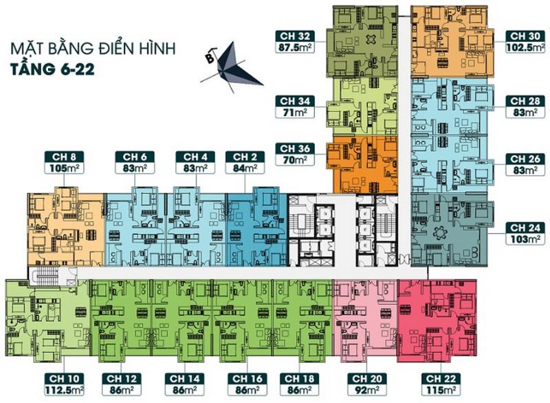 Mặt bằng điển hình tầng 6 - 22