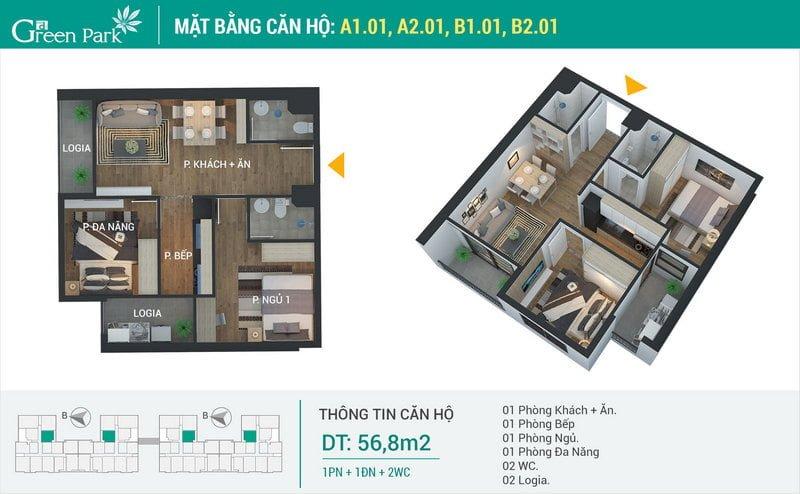 Thiết kế căn hộ 56,8m2