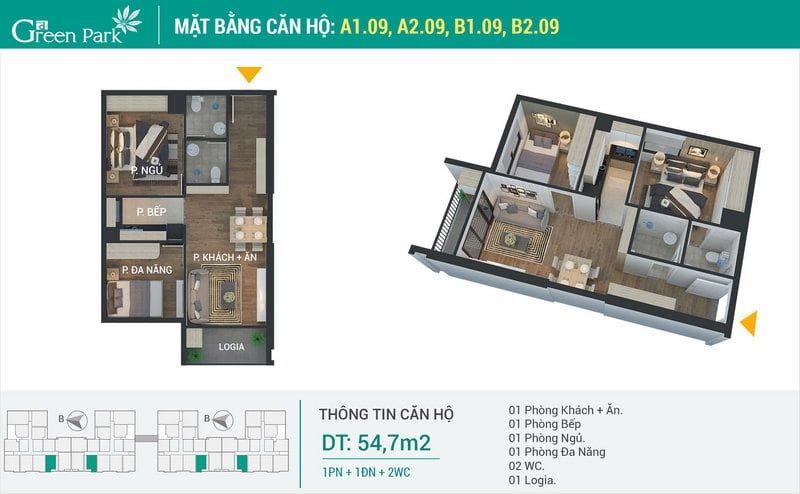 Thiết kế căn hộ 54,7m2