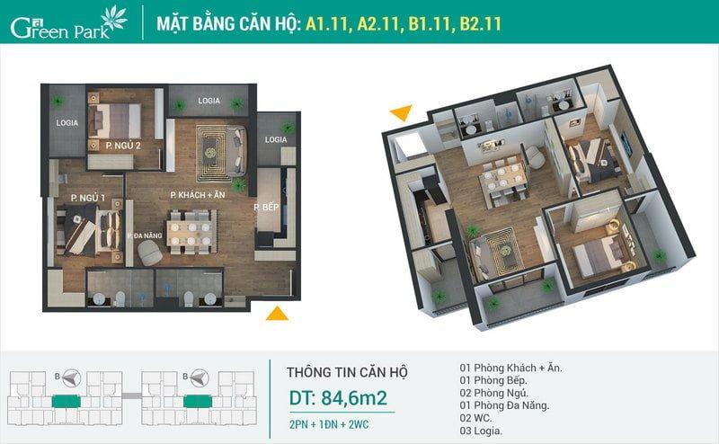 Thiết kế căn hộ 84,6m2