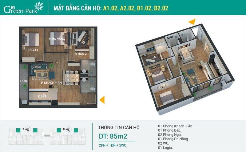 Thiết kế căn hộ 85m2 (loại 2)