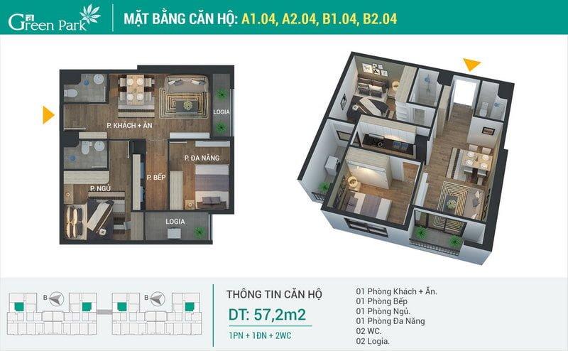 Thiết kế căn hộ 57,2m2