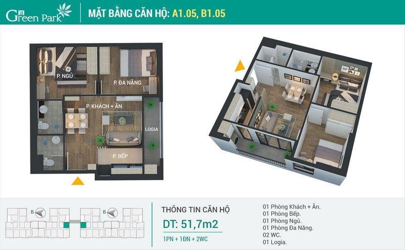 Thiết kế căn hộ 51,7m2