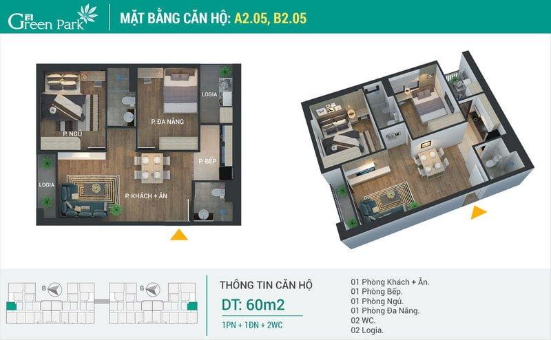 Thiết kế căn hộ 60m2
