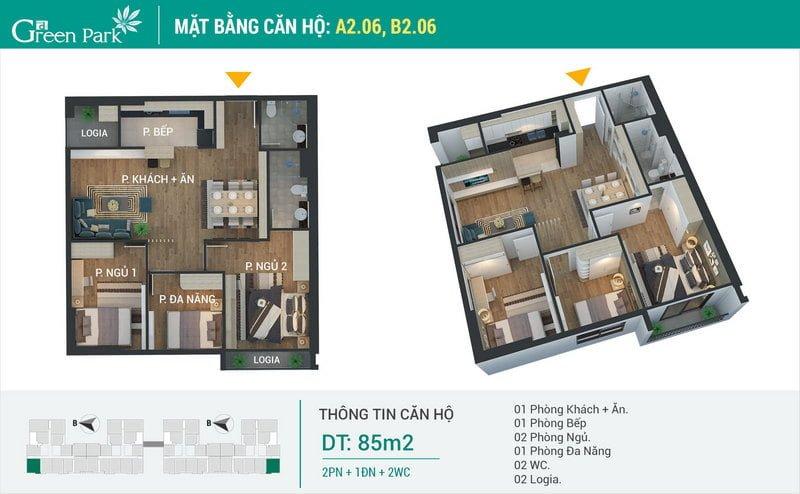 Thiết kế căn hộ 85m2