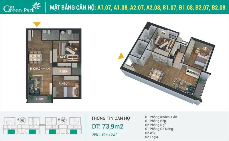 Thiết kế căn hộ 73,9m2