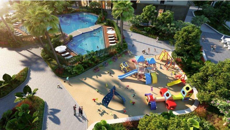 Khuôn viên vui chơi và bể bơi ngoài trời cho trẻ em