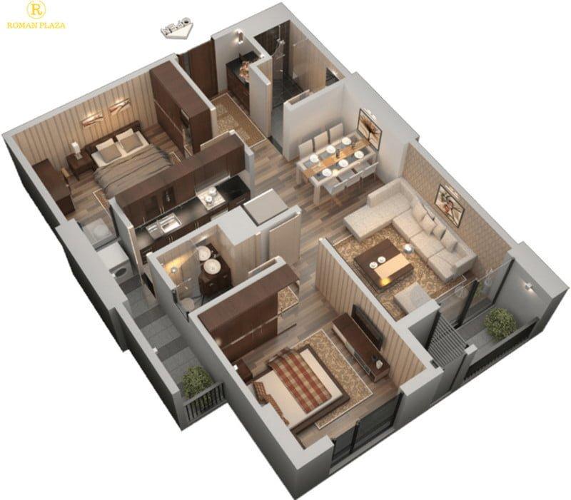 Thiết kế căn hộ 2PN, 2WC