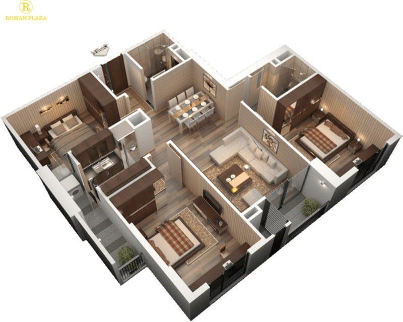 Thiết kế căn hộ 3PN, 2WC
