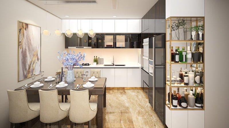 Khu bếp được bố trí riêng biệt và ấm cúng