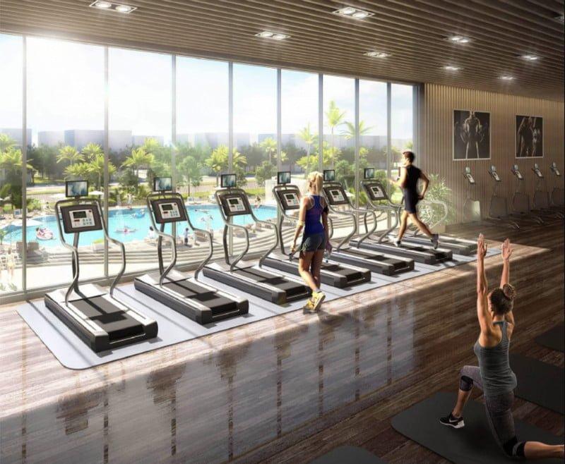 Phòng Gym với trang thiết bị luyện tập hiện đại