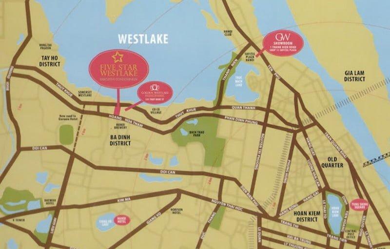 Vị trí dự án Five Star Westlake