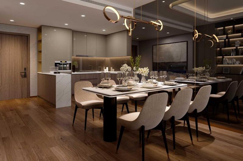 Phòng bếp và bàn ăn được bố trí hài hòa, ấm cúng, hiện đại