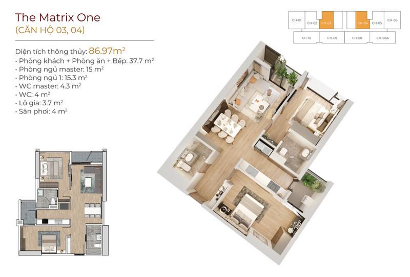 Thiết kế căn hộ 03;04 The Matrix One