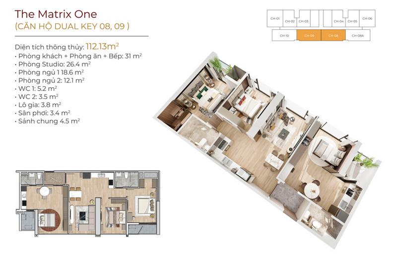 Thiết kế căn hộ Dual Key 08;09 The Matrix One
