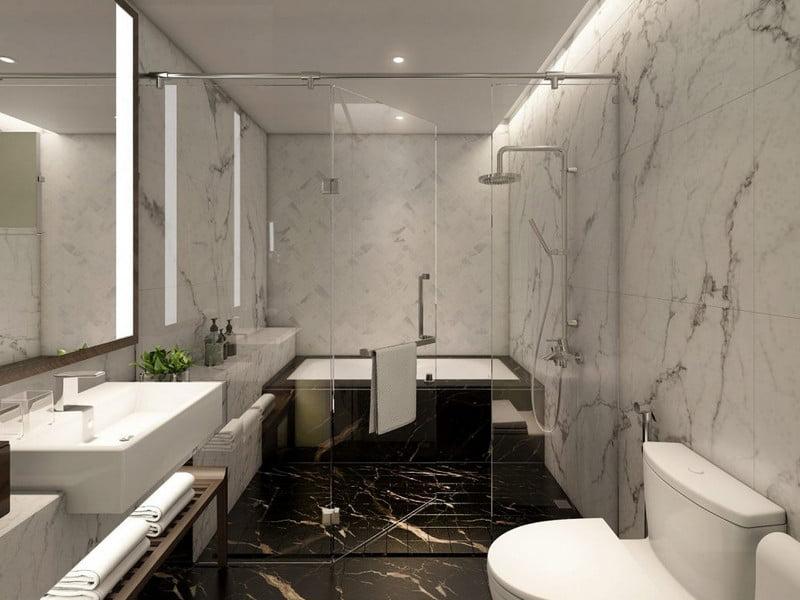 Khu WC hiện đại và rộng rãi, thoáng mát