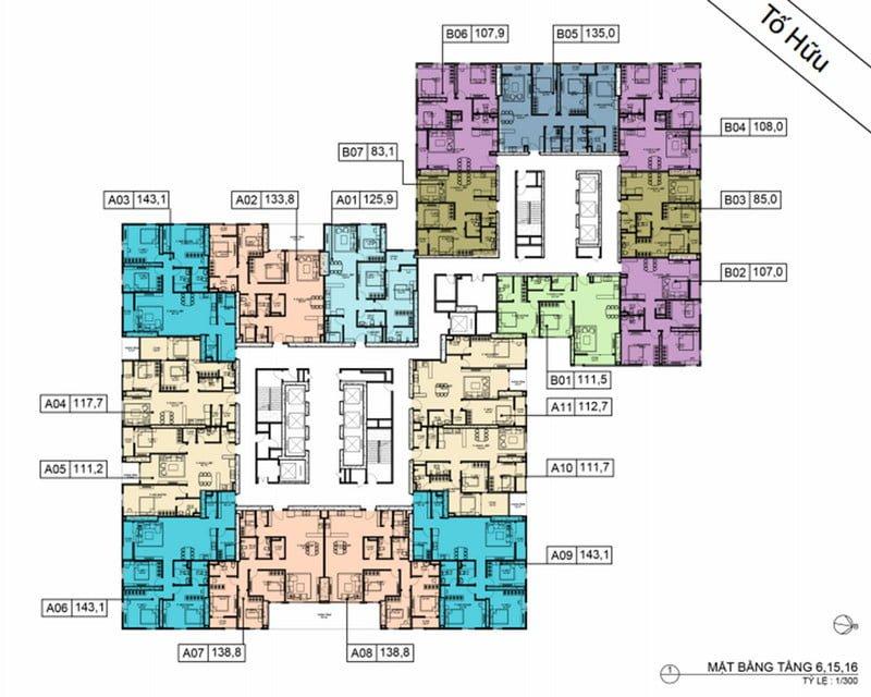Mặt bằng điển hình tầng 6-15-16