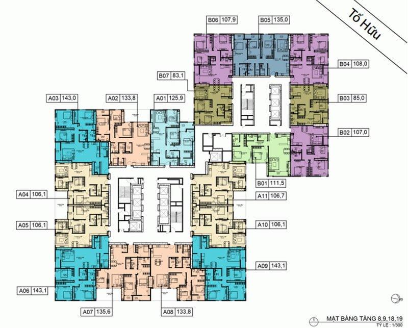 Mặt bằng điển hình tầng 8-9-18-19