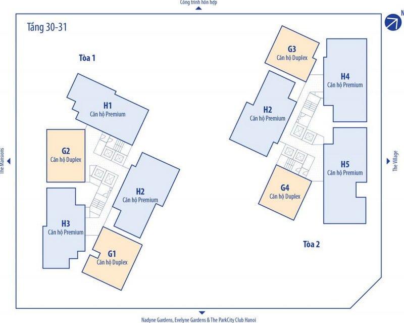 Mặt bằng điển hình tầng 30-31 chung cư Park City Hà Đông