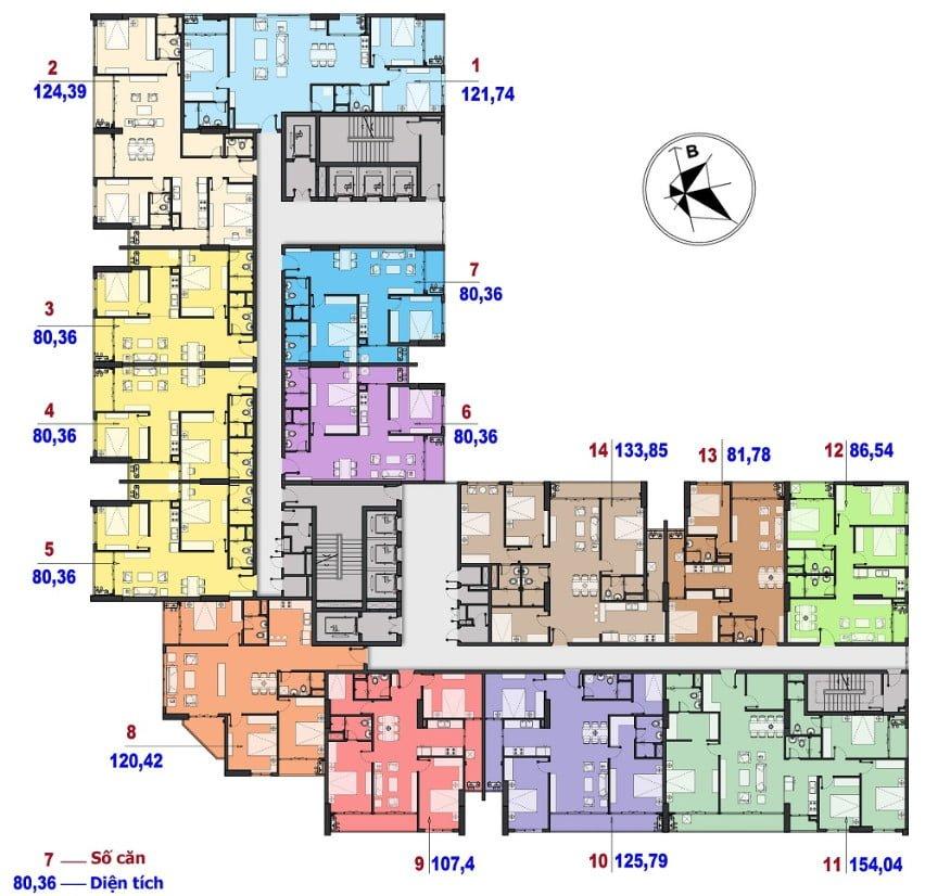 Mặt bằng điển hình tầng 23-29