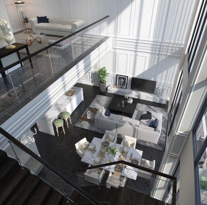 Không gian phòng khách căn thông tầng rộng rãi và thoáng mát