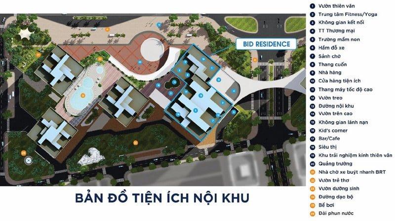 Bản đồ tiện ích nội khu chung cư BID Residence