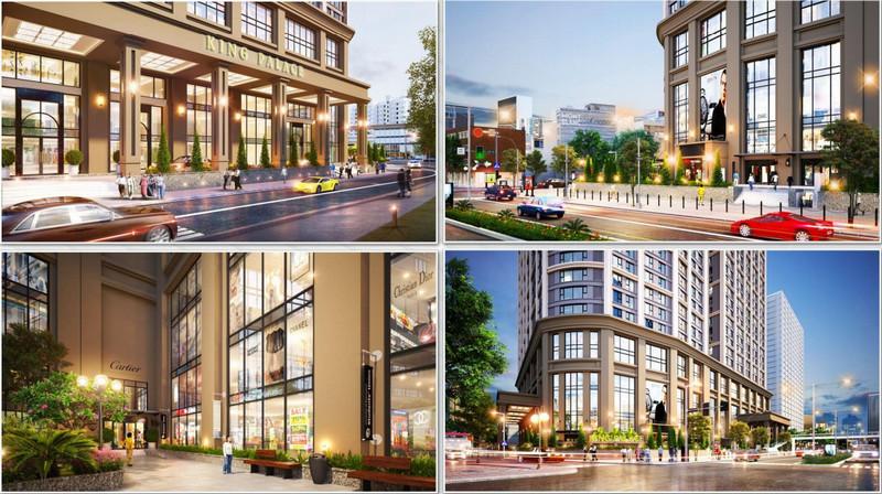 Phối cảnh mặt trước và khu trung tâm thương mại khối chân đế của dự án