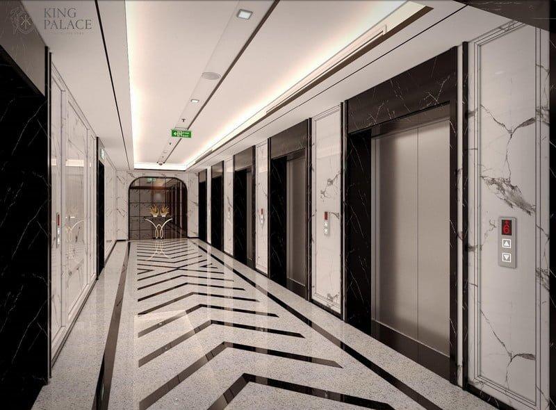Sảnh thang máy rộng rãi và sang trọng với độ rộng tiêu chuẩn