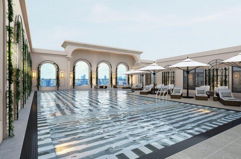 Bể bơi ngoài trời mang phong cách Resort