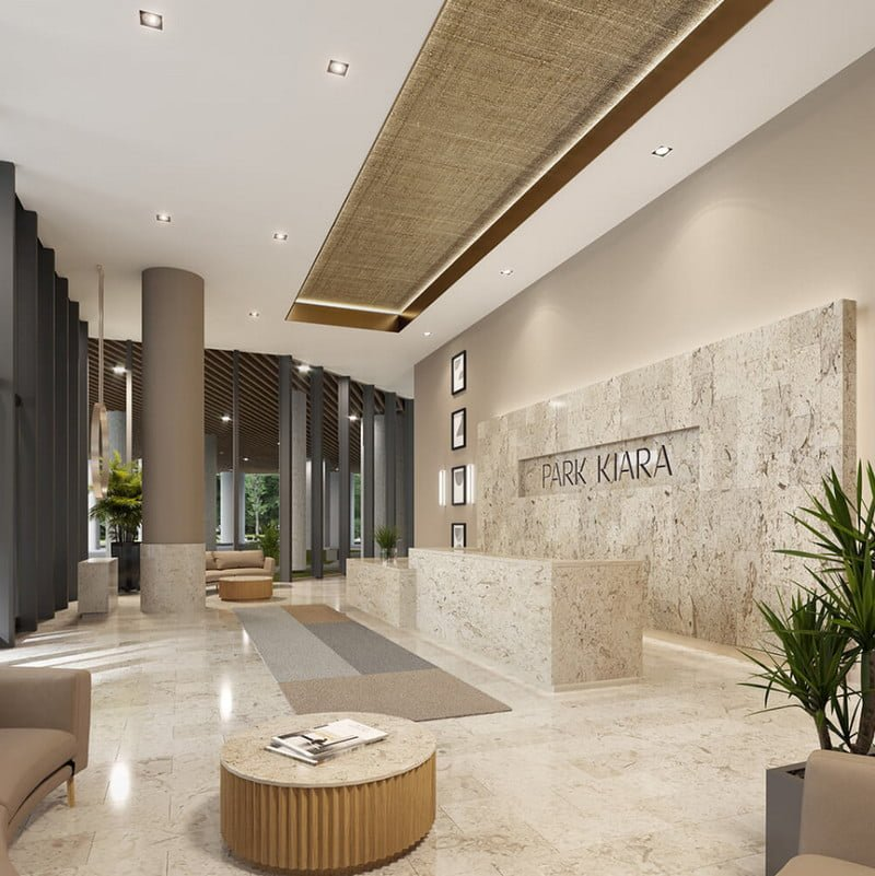 Sảnh toà nhà với thiết kế sang trọng và trang nhã
