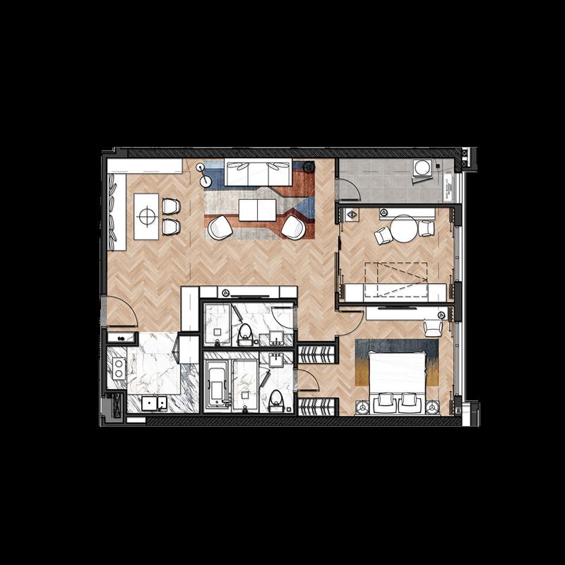 Mẫu căn hộ điển hình 2 phòng ngủ