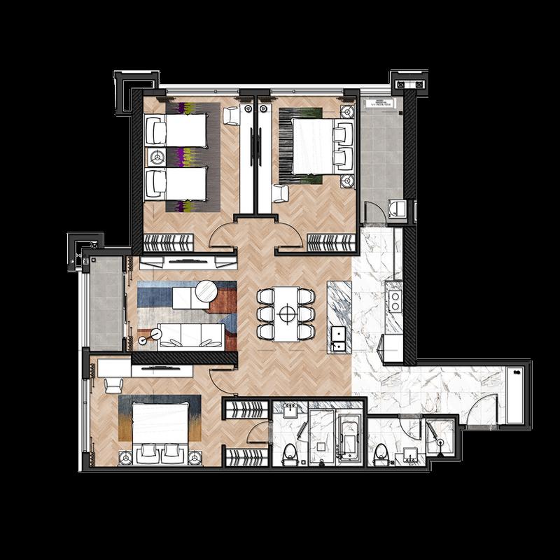 Mẫu căn hộ điển hình 3 phòng ngủ