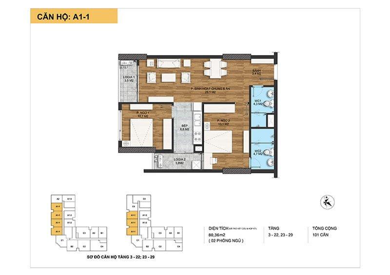 Thiết kế căn hộ loại A1