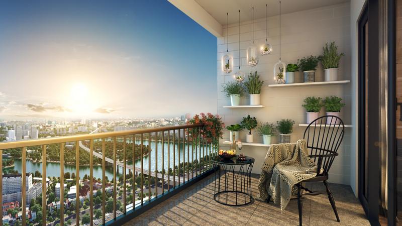 Ban công phòng khách tại dự án với tầm View Panorama không giới hạn về hồ Linh Đàm