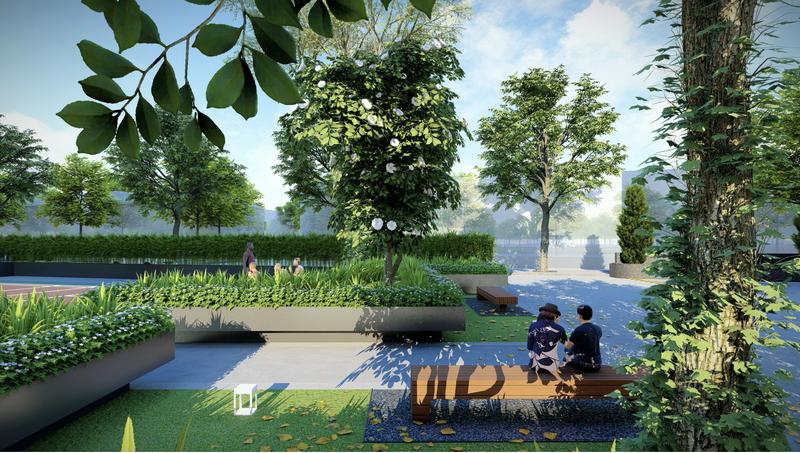 Góc cảnh quan tràn ngập cây xanh tại Rose Town Ngọc Hồi