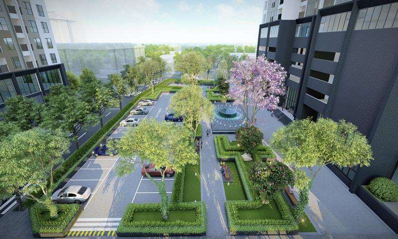 Khu đỗ xe cũng được trồng nhiều cây xanh cho một không gian xanh mát